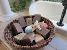 This is my basket for homemade soaps from Blue Organic Soaps - useful and pretty!