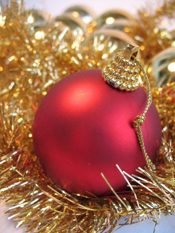 bigstock-Red-Christmas-Ball-2291375